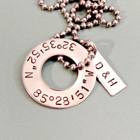 Personalized Latitude Longitude Necklace - Custom Mens Anniversary Wedding Couples Coordinates Jewelry for Him - Silver Stainless