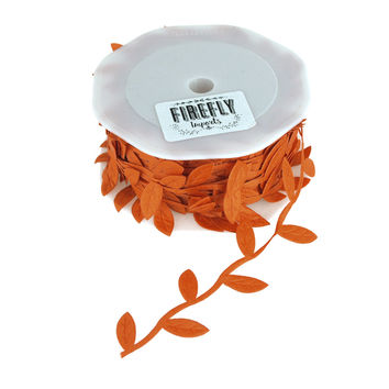 Polyester Leaves Garland Ribbon, 10-yard, Orange