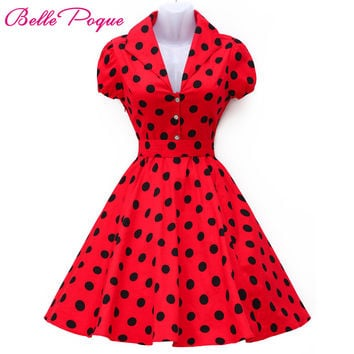Vestidos Summer  Dress Polka Dot Short Sleeve Retro Casual Robe Rockabilly Party Dress 50s 60s Pinup Swing Vintage Dresses