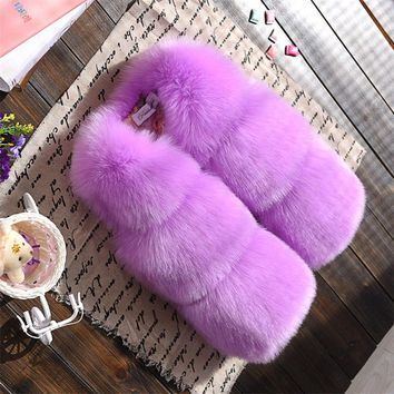 Retail Selling 2017 Winter New Children Faux Fur Waistcoats Girls Fashion Solid Color Vests Baby Girl Version Waistcoat