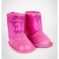 Pink Sequin Infant Boots