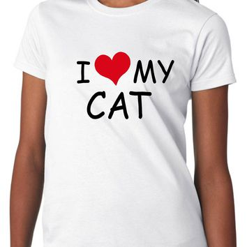 I Love My Cat Women's, Size: Adult XL, White