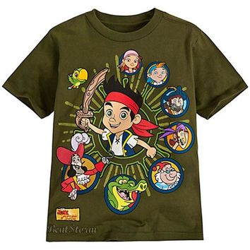 Licensed cool Disney Store JAKE AND THE NEVERLAND PIRATES PIRATE GREEN BOYS TEE T SHIRT 2/3