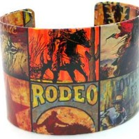 "Western Cowboy Southwest Rodeo Green Red Vintage Retro Cuff Wrap Bangle Bracelet,8"" Inches: Jewelry: Amazon.com"