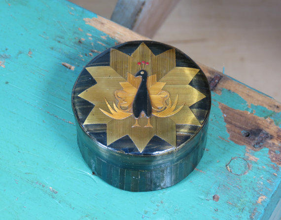 marquetry peacock bamboo trinket box from 13th street emporium