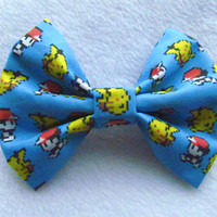 8-bit Ash and Pikachu Pokemon Inspired Hair Bow