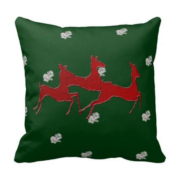 Red Dashing Bucks Snowflakes Throw Pillows