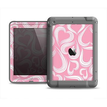 The Pink and White Vector Swirly Heart Pattern Apple iPad Air LifeProof Fre Case Skin Set