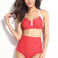 Red and White Polka Dot High Waisted Swimsuit