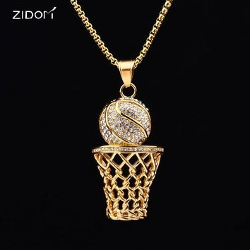 Stainless Steel Hiphop iced out bling AAA Rhinestone Basketball Men pendant necklaces fashion sport