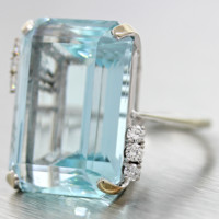 $17,500 Vintage Solid 18k White Gold 33ctw Aquamarine Diamond Cocktail Ring