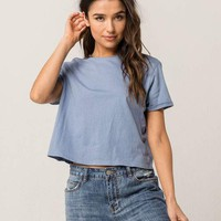 FULL TILT Essentials Roll Cuff Sleeve Womens Cropped Tee