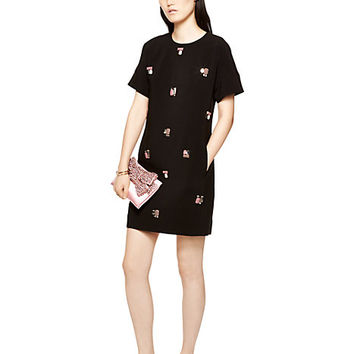 Kate Spade Embellished Shift Dress Black