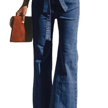 Womens Blue Wash Sash Tie Wide Leg Denim Pants