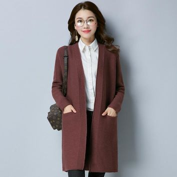 Autumn Medium Style Round Neck Jacquard Weave Solid Color Pocket Cardigan All Matched Sweater Coat Long Sleeve Warm Comfort