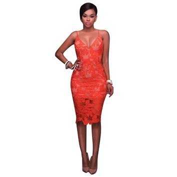 Orange Full Lace Straps Slim Dress with Lining