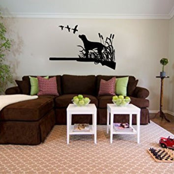 Labrador Dog and Ducks with Rifle Hunting Silhouette Vinyl Wall Decal Sticker Graphic
