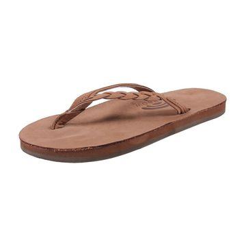 Flirty Braidy Leather Sandal in Dark Brown by Rainbow Sandals