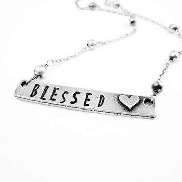 Blessed Necklace Hand Stamped Blessed Necklace Personalized Jewelry Pewter Spiritual Necklace Mommy Jewelry Metal Jewelry Gift for Idea Her