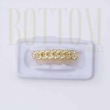 18K Gold Plated Cuban Link CZ Bottom Grillz