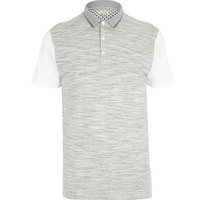 River Island MensGrey space dye contrast sleeve polo shirt