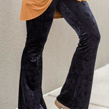 Cher Crushed Velvet Flare Pants - Navy