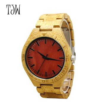 New Red Dial Wood Watches Men Creative Mens Watches Casual Pure Wood Relogio Masculino