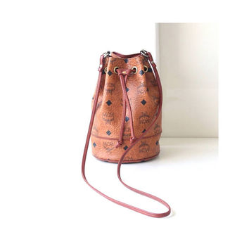 MCM Visetos Cognac Monogram Brown Authentic Vintage Drawstring Mini Handbag Purse