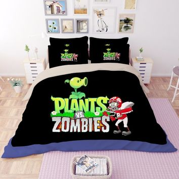 Black Plants vs. Zombies game 3D print bedding sets Children's boys Adult duvet cover High quality single full queen king size