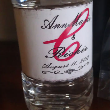 Custom Red, White and Black Damask Water Bottle Labels