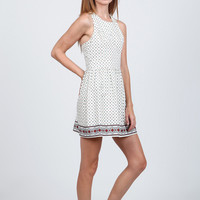 (amy) Flare minimal print racer back ivory dress