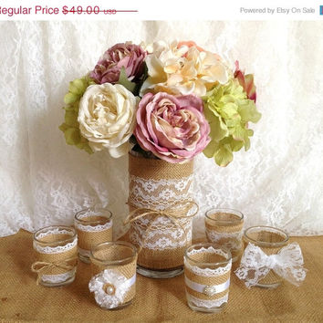 3 DAY SALE burlap and white lace covered votive tea candles and vase country chic wedding decorations, bridal shower decor, home decor