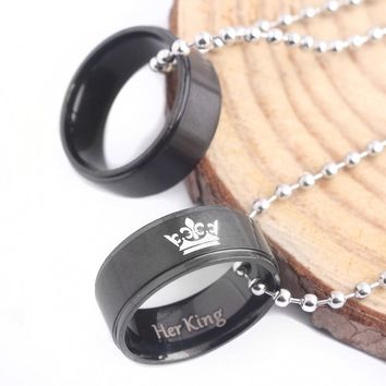 RJ New His Queen Her King Crown Letter Round Pendant Black Lover Bead Chain Necklaces Couple Women Men Valentine's Day Gift