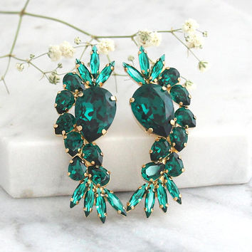 Emerald Earrings, Emerald Bridal Earrings, Statement Earrings, Emerald Statement Earrings, Dark Green Earrings, Swarovski Emerald Earrings