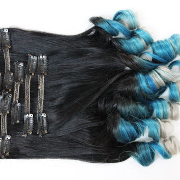 18' Full Set of Ombre Clip in Extensions. 100% Human Hair, Double Wefted, Dark Brown Fade to Turquoise & Blonde.