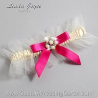 "Ivory and Hot Pink Tulle Wedding Garter Bridal Garter ""Natalie"" Silver 871 Ivory 187 Azalea Pink Prom Luxury Garter Plus Size & Queen Size"
