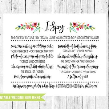 Wedding I Spy Game, Wedding Scavenger Hunt with Your Hashtag, I Spy Floral Wedding Sign 16x20, Wedding Reception Activies, PRINTABLE FILE