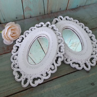 Two Shabby Chic Vintage Wall Mirrors Painted Antique White and Distressed Homco
