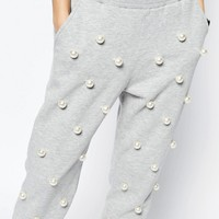 ASOS WHITE Pearl Embellished Joggers at asos.com