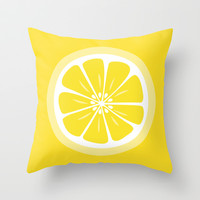Lemon Fruit Slice Summer Fun Throw Pillow by Papel y Pastel | Society6
