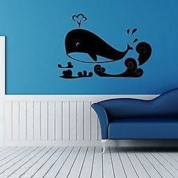 Wall Sticker Vinyl Decal Whale Ocean Sea Marine Bathroom Unique Gift ig1218