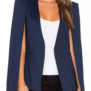 Navy Structured Cape Blazer