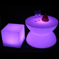 LED glowing table Chair set Bar Furniture Sets SK-LF16B 1pc+4pcs LED Cube Chair D40cm free shipping 1set