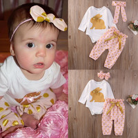 3Pcs Newborn Infant Baby Girls Clothes Set LOVELY Clothing Romper Tops Playsuit Pants Baby Girl Outfit Set