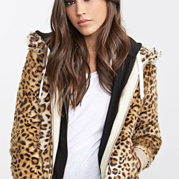 FOREVER 21 Hooded Leopard Faux Fur Jacket Tan/Brown