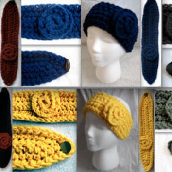 Crochet Deep Red Burgundy, Navy Blue, Daffodil Yellow, Forrest Green, Black, or black & red Headband Ear Warmer Headwrap Spiral Rose Flower