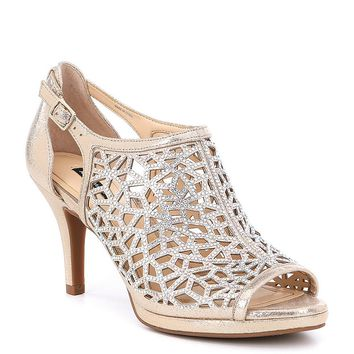 Alex Marie Lanie Metallic Leather Rhinestone Detail Cutout Pattern Dress Pumps | Dillards