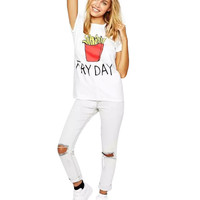White Fry Day Print T-Shirt
