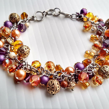 Unique Beaded Bracelet Colorful Charms Different Dangle Swarovski Crystals Jewelry Purple Gold Yellow