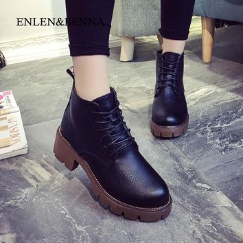 ENLEN&BENNA winter women boots fashion velvet platform thick heel ankle boots shoes wo